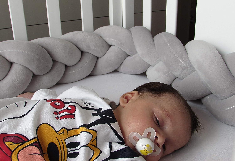 Tour de lit enfant rembourr/é Coussin tress/é /à la main mesures 200 cm x 15 cm x 8 cm gris Prot/ège t/ête bras jambes Protection berceau longueur 2 m