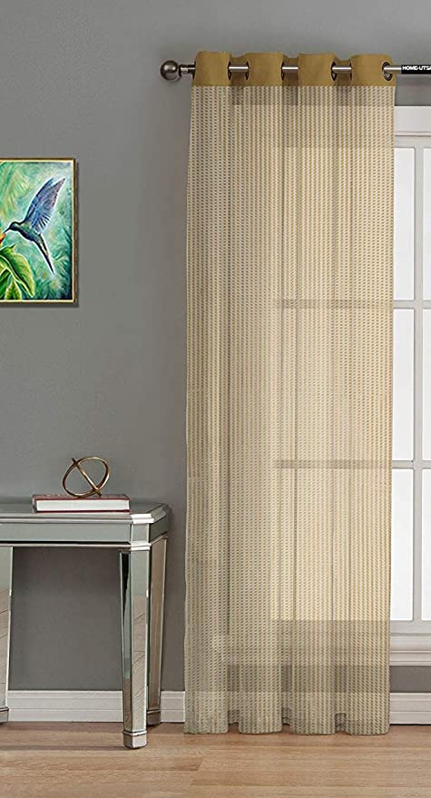 Home Utsav Sheer Strip Tissue Net 1 Piece Polyester Transparent Curtains For Window 5 Feet Gold Gold Window 5 Feet