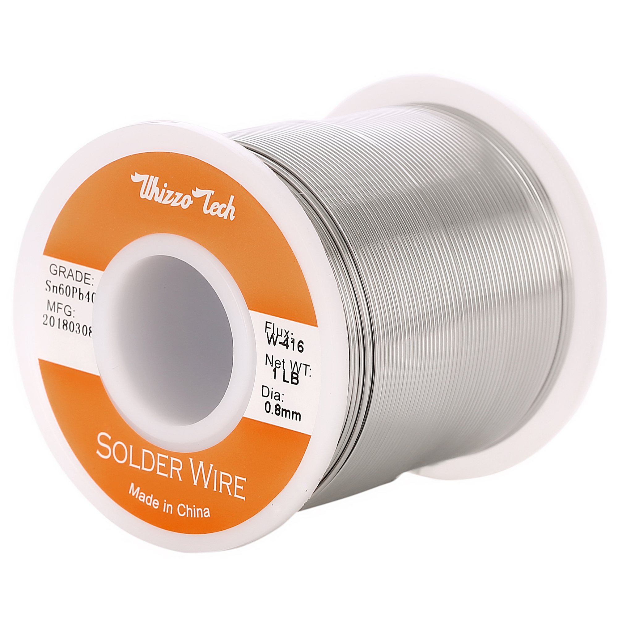Whizzotech Solder Wire 60/40 Tin/Lead Sn60Pb40 with Flux Rosin Core for Electrical Soldering Diameter 0.032 Inch Weight 1LB