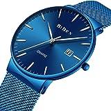 Uhren, Herren Fashion Lässig Schlank Armbanduhr Analog Quarz Uhren Datum mit Blau Mesh Band