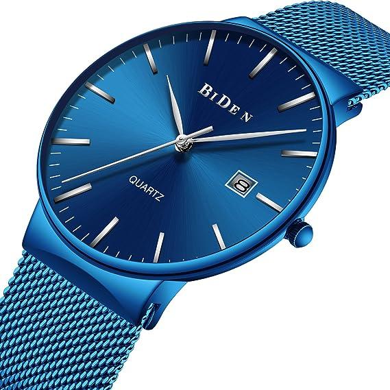 Relojes para Hombre, Reloj de Cuarzo analógico de Acero Inoxidable con Correa de Malla Azul, Fino, Minimalista, Resistente al Agua: Amazon.es: Relojes