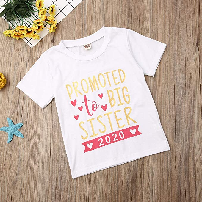 QA/_ BABY GIRL PROMOTED TO BIG SISTER LETTER PRINT SHORT SLEEVE T-SHIRT TOP NIC
