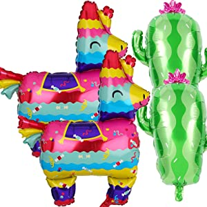4 PCS Fiesta Foil Balloon, 2 PCS Llama Shaped & 2 Pcs Cactus Foil Balloons for Mexican Fiesta Theme Cinco De Mayo Party Decorations Birthday Baby Shower Decor Supplies