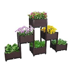 D'vine Dev Planter Raised Beds - Elevated Planter Garden Box for Vegetable/Flower/Herb Outdoor Standing Planter Beds