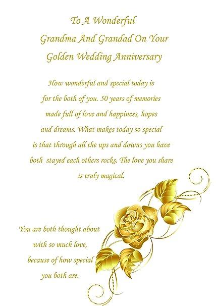 Abuela y Abuelo aniversario tarjeta de bodas de oro: Amazon.es ...