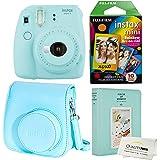 Fujifilm Instax Mini 9 Polaroid Ice Blue Instant Camera Plus Original Fuji Case, Photo Album and Fujifilm Rainbow 10 Films