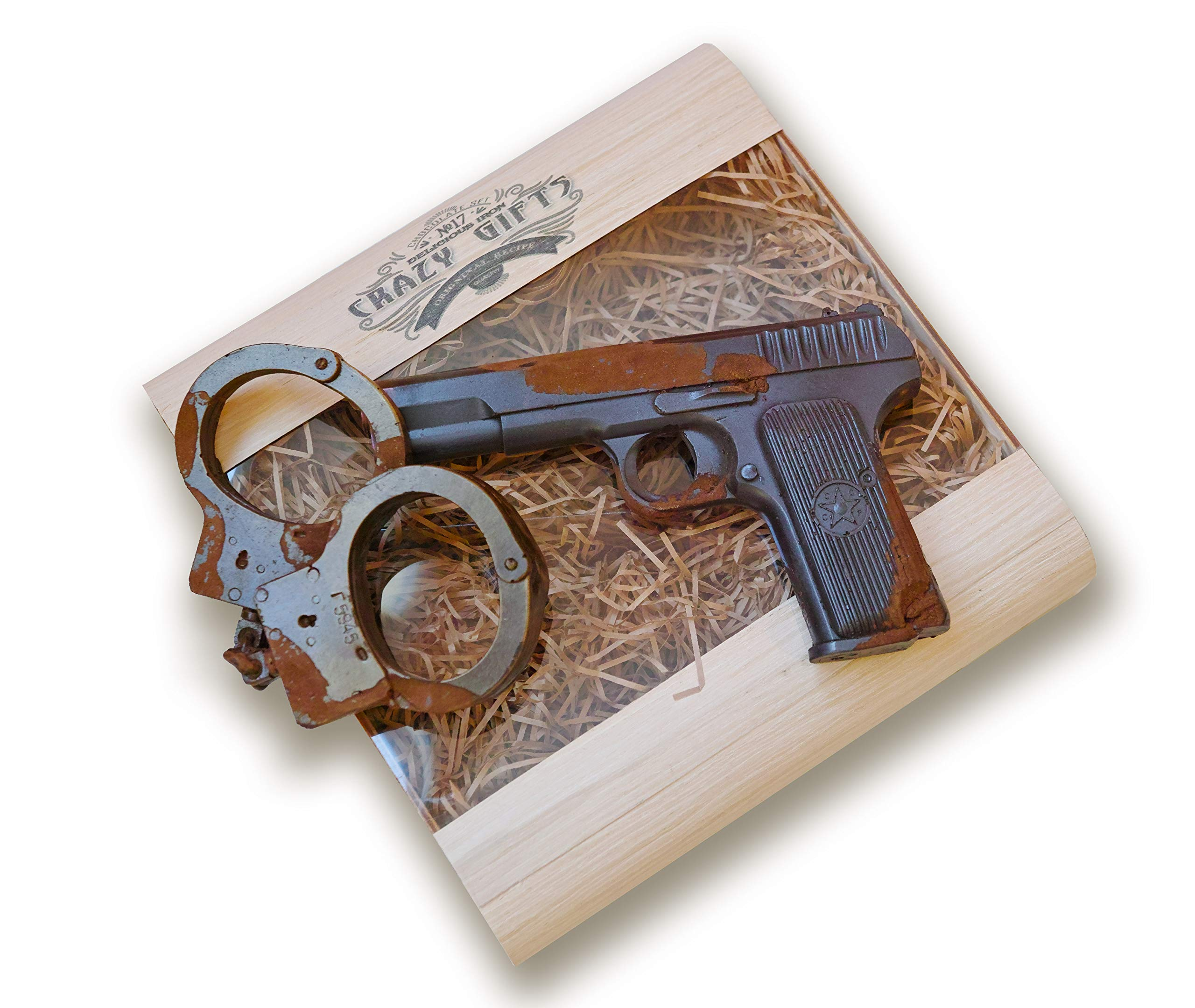IronChoco Chocolate Pistol and Handcuffs Real Size Solid in Handmade Gift Box, 12.7 oz - Holiday, Sympathy, Birthday Gift for Police Officer by IronChoco