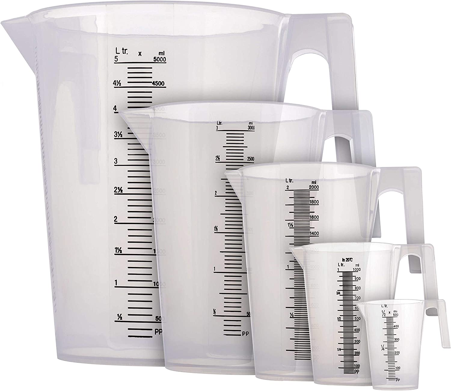 TCP Global 5 Piece Set of Plastic Graduated Measuring and Mixing Pitchers - 500, 1000, 2000, 3000, 5000 ml Sizes - Pouring Cups, Measure & Mix Paint, Resin, Epoxy, Kitchen Cooking Baking Ingredients