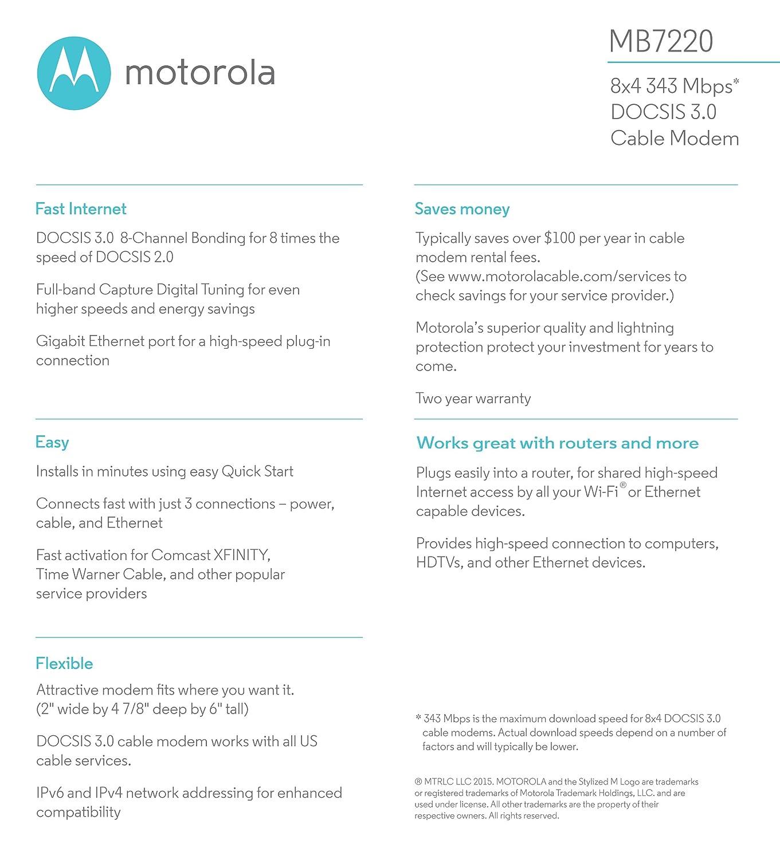 Amazon Motorola 8x4 Cable Modem Model MB7220 343 Mbps