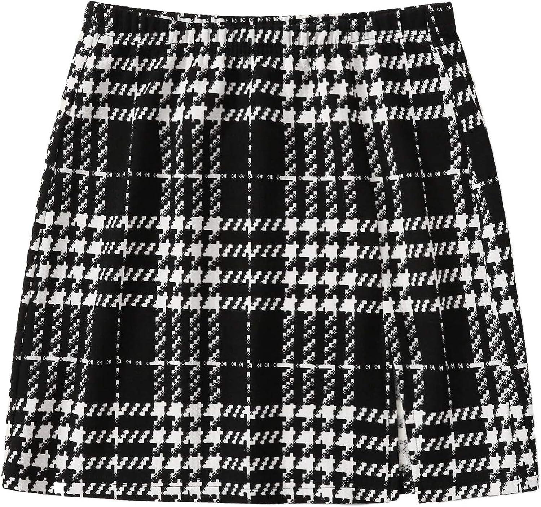 SheIn Women's Basic Stretch Plaid Mini Bodycon A-Line Pencil Skirt: Clothing