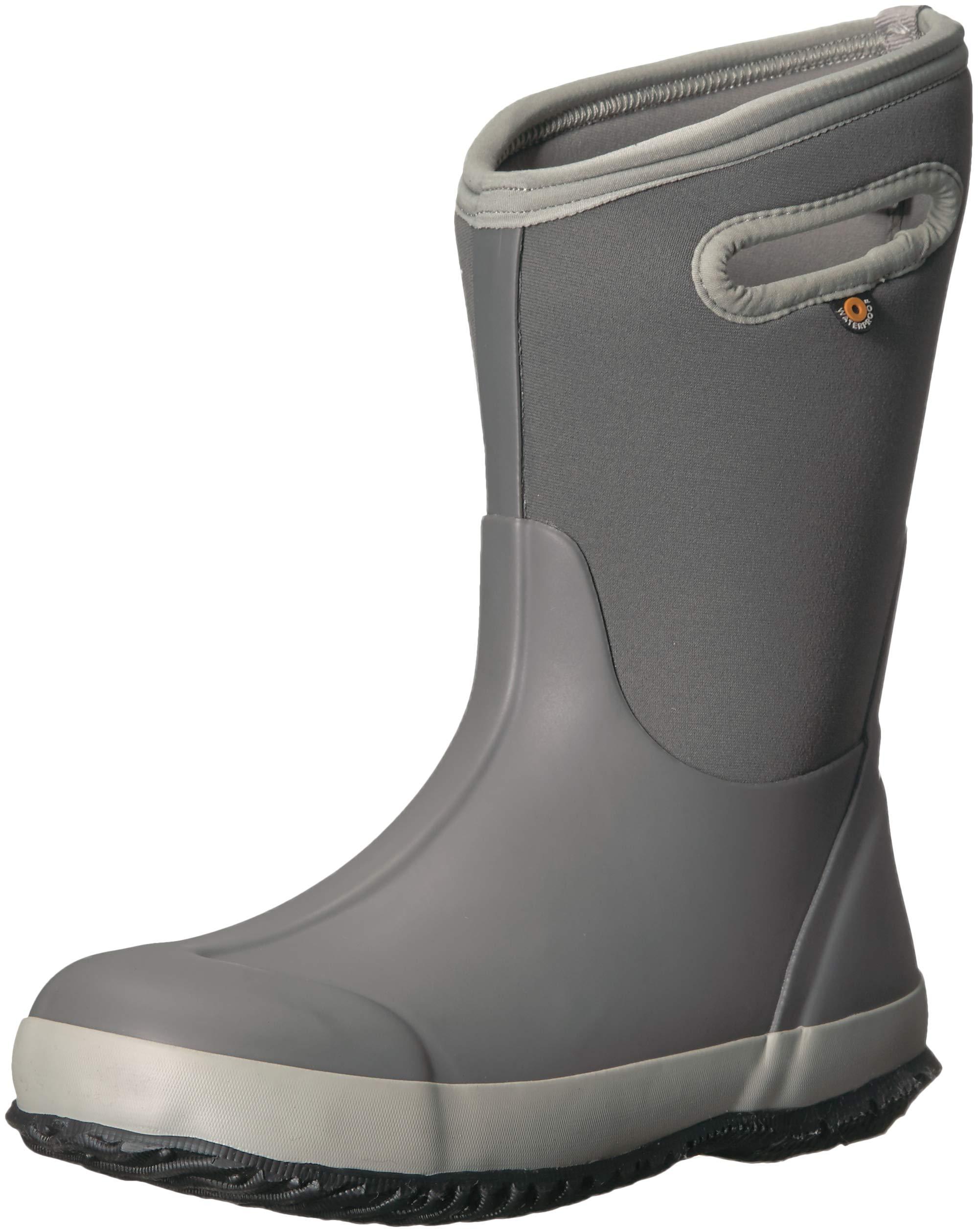 Bogs Classic High Waterproof Insulated Rubber Neoprene Rain Boot Snow, Matte Light Gray 3 M US Little Kid