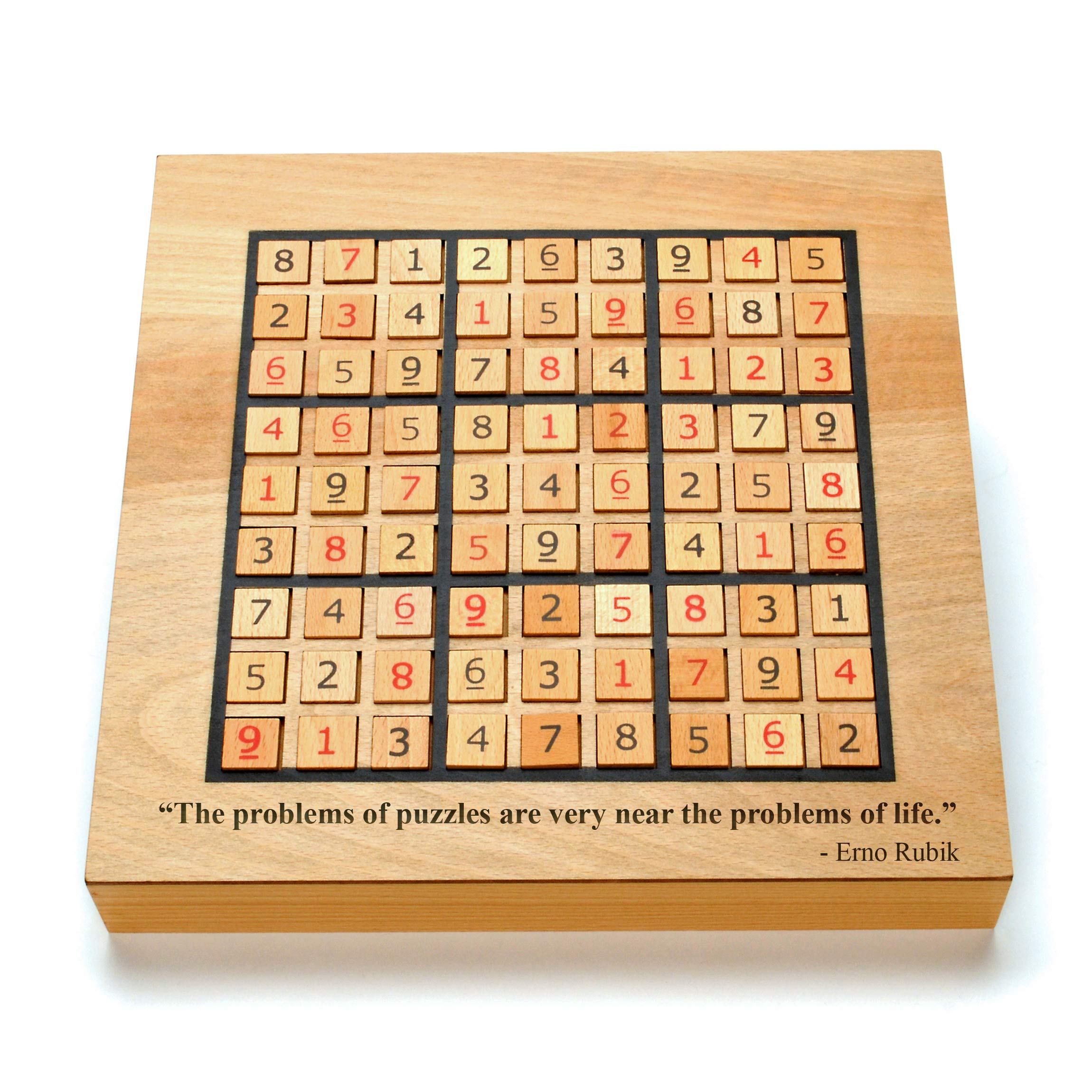 WE Games Custom Engraved Wooden Sudoku Board - Storage Drawers for Wooden Numbered Tiles by WE Games