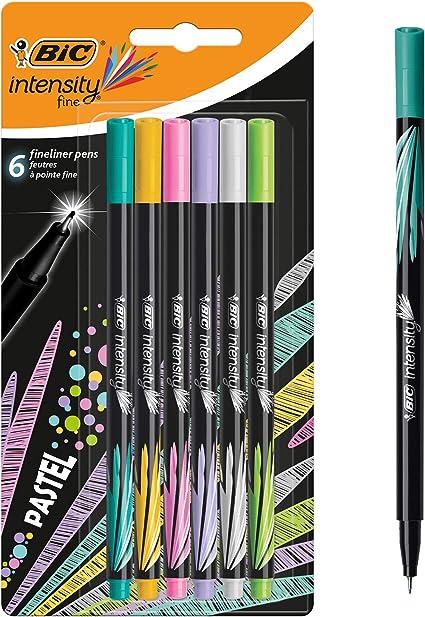 BIC Intensity - Pack de 6 rotuladores de punta fina, color Pastel ...
