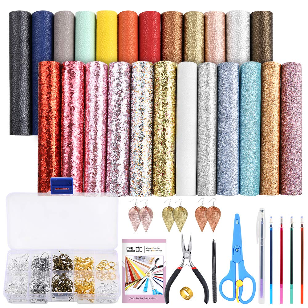 Caydo 24 Pieces Leather Earring Making Kit Include Instructions, 4 Kinds of Faux Leather Sheet and Tools for Earrings Craft Making Supplies by Caydo