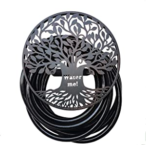 BSTGIFTS Garden Hose Holder, Decorative Water Hose Rack, Durable Wall Hose Hanger, Holds 125-Feet of 5/8-Inch Hose, Hose Reel, Made of Steel, Tree of Life Wall Art Design