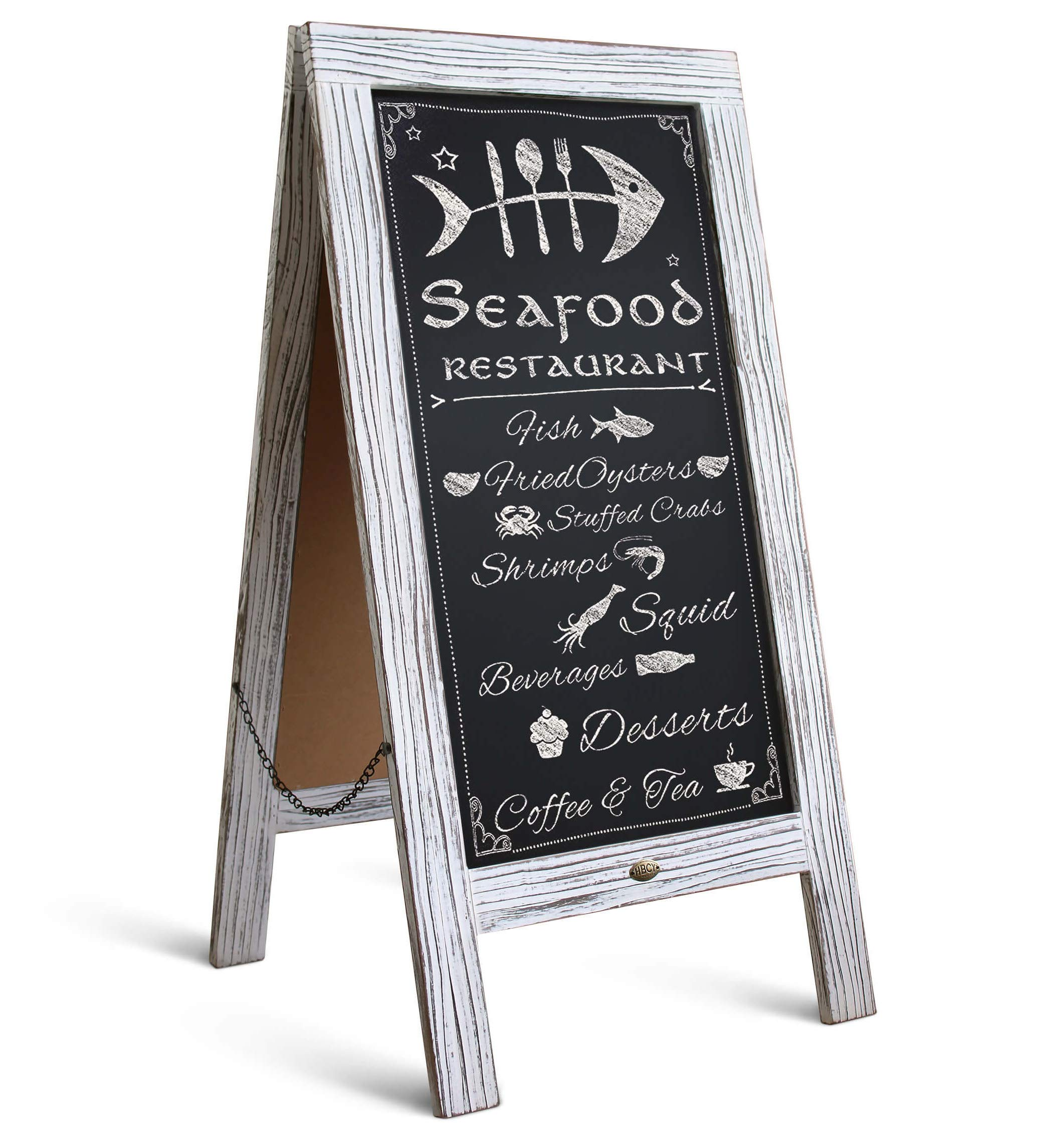 Rustic Vintage Wooden Whitewashed Magnetic A-Frame Chalkboard/Sidewalk Chalkboard Sign/Large 40'' x 20'' Sturdy Sandwich Board/A Frame Restaurant Message Board Display (Classic) by HBCY Creations