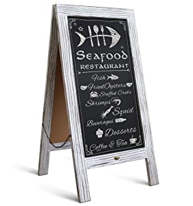 "HBCY Creations Rustic Vintage Wooden Whitewashed Magnetic A-Frame Chalkboard/Sidewalk Chalkboard Sign/Large 40"" x 20"" Sturdy Sandwich Board/A Frame Restaurant Message Board Display (Classic)"