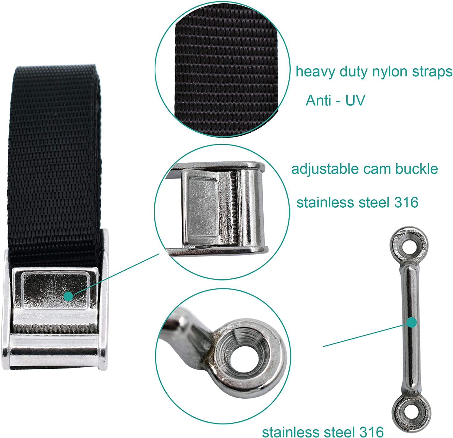 YYST Battery Box Hold Tie Down Strap Kit Anti-UV w//Stainless Steel Cam Buckle 2