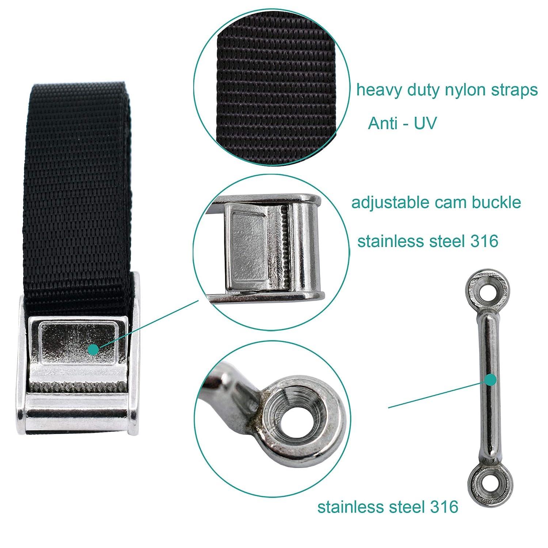 2 Stainless steel 316 Eye Strap Mounts YYST 54 Battery Tie Down Strap Kit Battery Hold Down Strap with stainless steel 316 Buckle 4 SS Screws