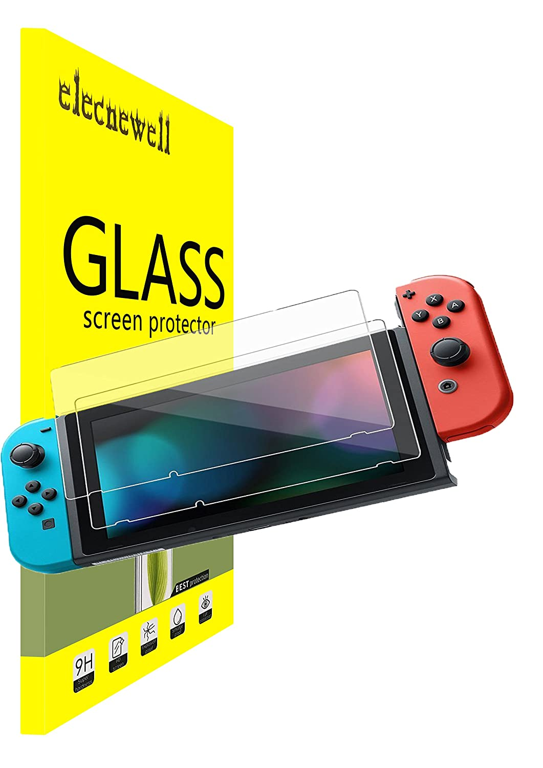 (2 Packs) Nintendo Switch Screen Protector, NEWELL; 0.26mm Premium Tempered Glass Screen Protector for Nintendo Switch 2017 Bubble-free HD Ultra-clear Anti-Scratch Anti-Fingerprint Guard Cover