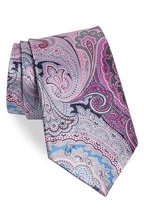3959735a Ermenegildo Zegna Quindici # 165 Paisley Pink Silk Tie