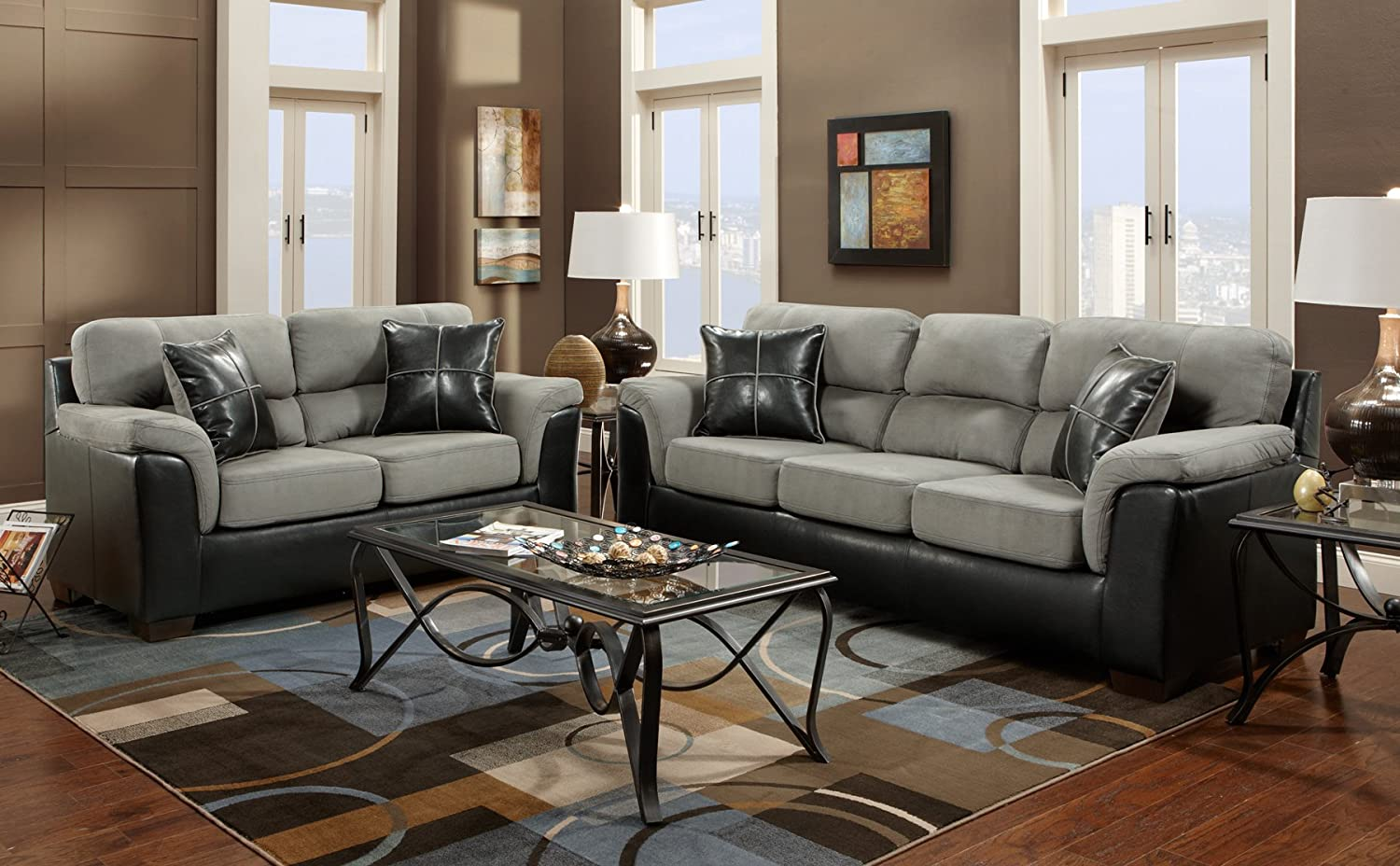 Amazon.com: Roundhill Furniture Laredo 2 Toned Sofa And Loveseat Living  Room Set, Black And Grey: Kitchen U0026 Dining