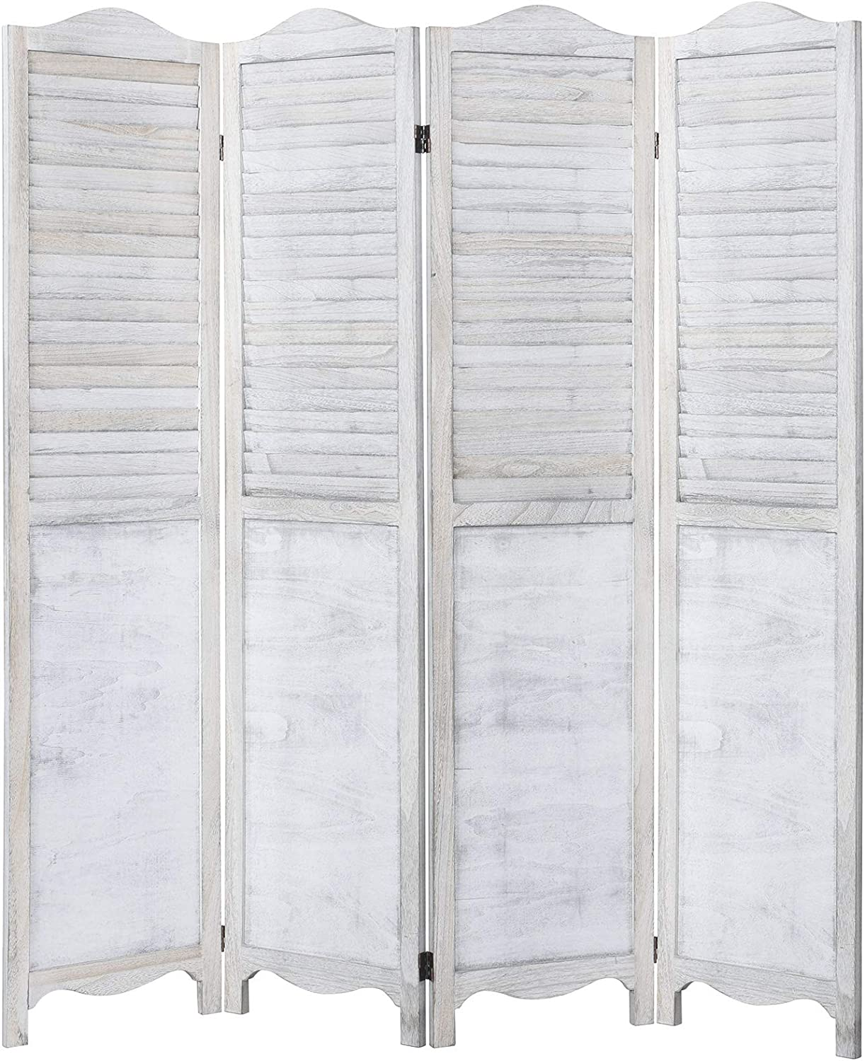 RHF 5.6ft.Tall Vintage Rustic Design Wood Crafted Room Divider/4 Panel Panels Screen Folding Privacy Partition Wall Room divider Wood Screen Freestanding 4 Panel -Panel 5.6-Feet,White