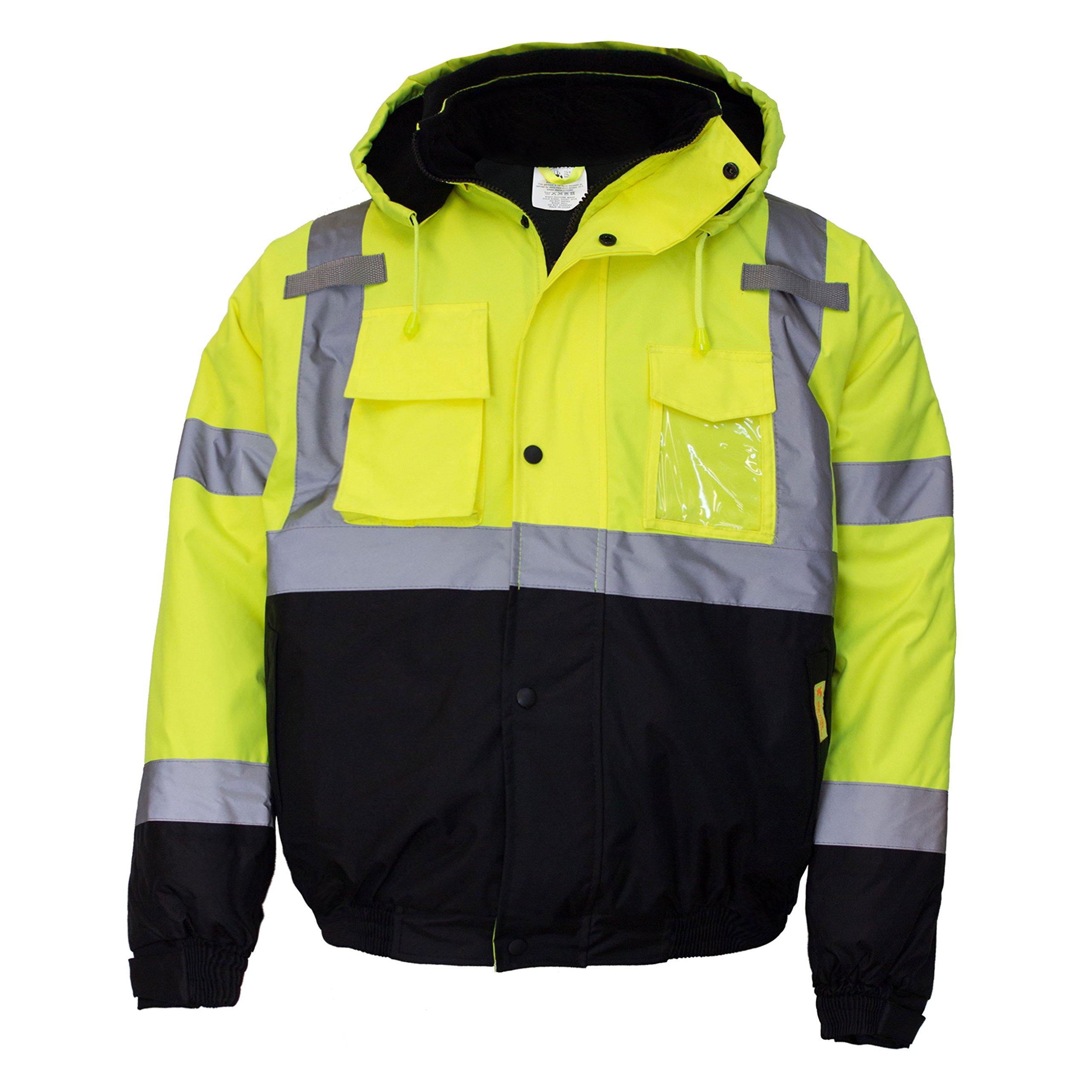 New York Hi-Viz Workwear WJ9012-L Men's ANSI Class 3 High Visibility Bomber Safety Jacket, Waterproof (Large, Lime) by New York Hi-Viz Workwear (Image #2)