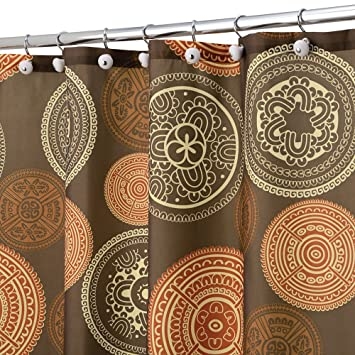 Amazon.com: Shower Curtain Bazaar Medallion Brown Orange Spice ...