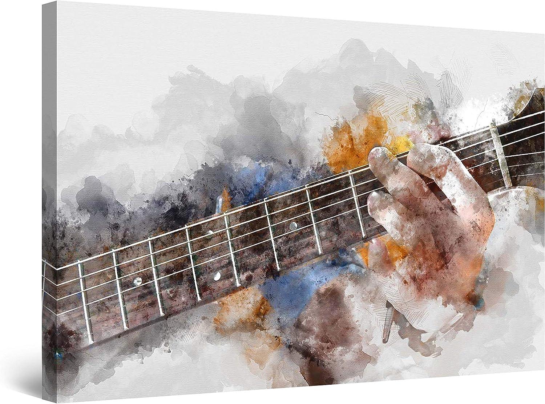 Startonight Cuadro Moderno en Lienzo - Grunge Acuarela Hombre del Guitarra - Pintura Abstracta para Salon Decoración 60 x 90 cm