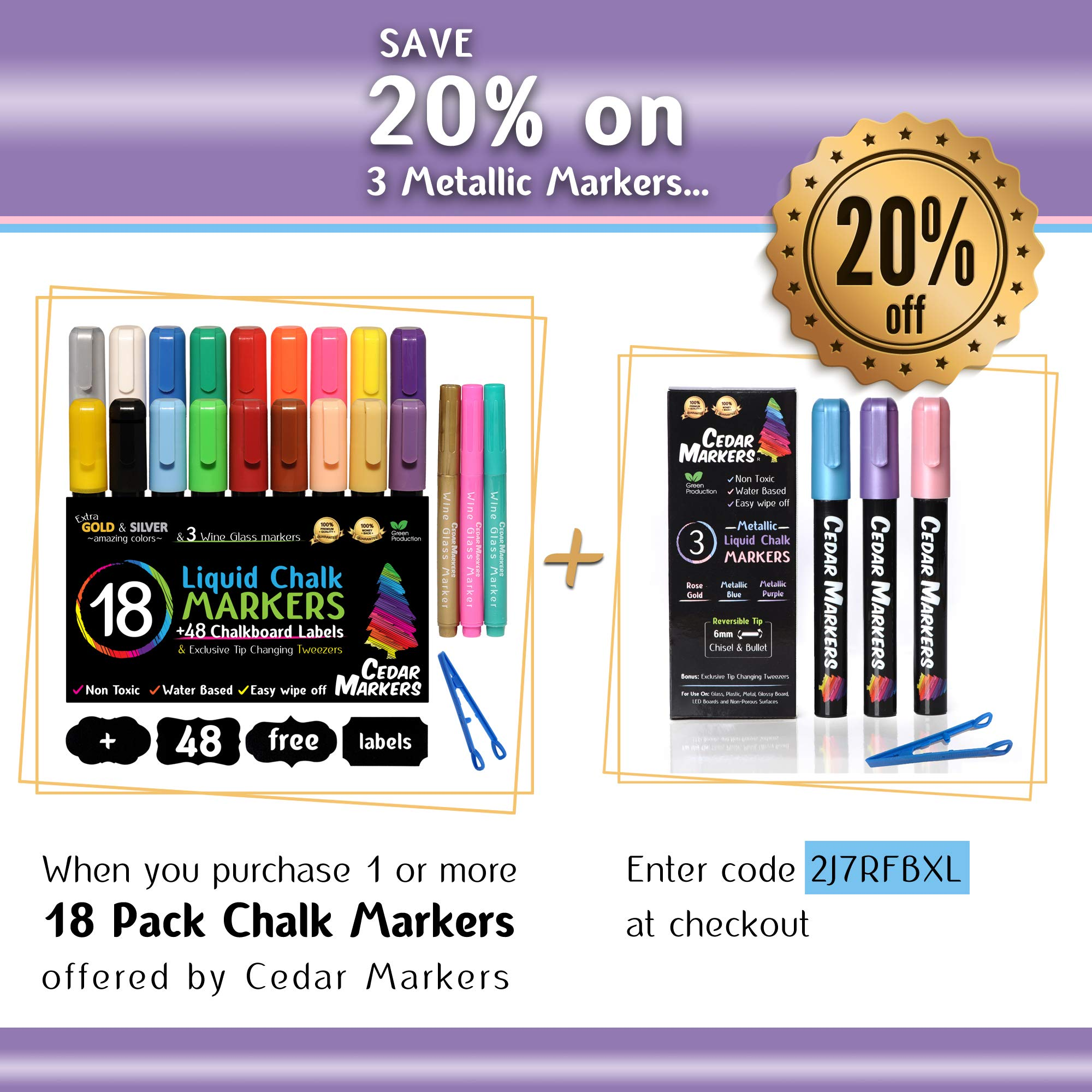 Cedar Markers Liquid Chalk Markers - 18 Pack Chalkboard Markers for Chalkboards. Reversible Bullet And Chisel Tip. Chalk Board Marker paint Water Based Non-Toxic. by Cedar Markers (Image #6)