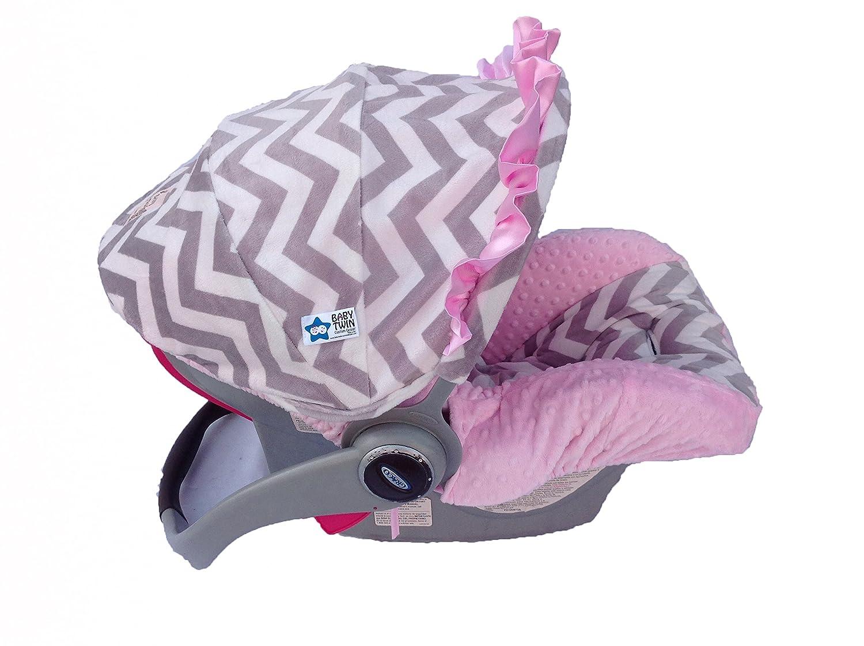 B00L87ELGS Infant Car Seat Cover- Pink and Gray Chevron 81Uq92jeGtL._SL1500_