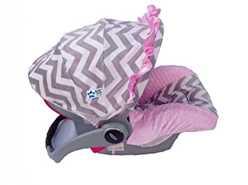 Infant Car Seat Cover Pink And Gray Chevron