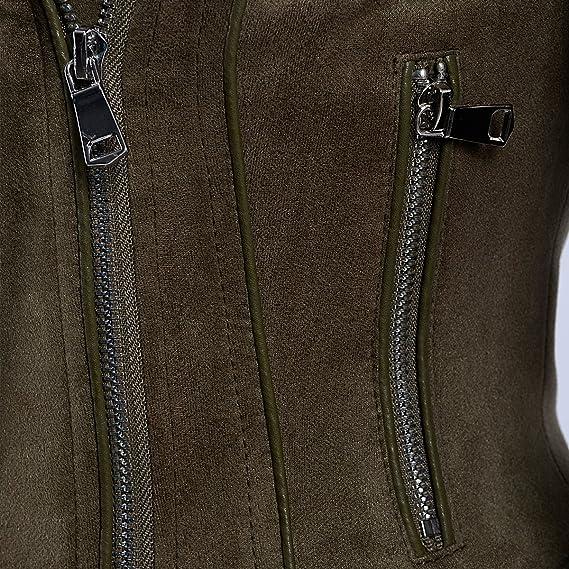 SX Ladies Fashionable Womens Moto Biker Jacket Asymmetrical Zip-up Faux Leather Short Coat Jacket