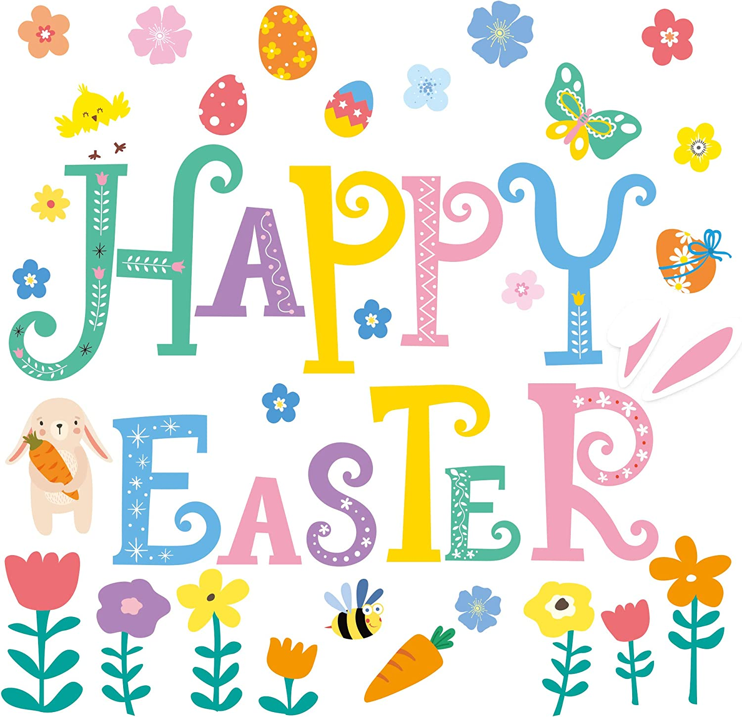 Whaline Happy Easter Decoration Stickers 42Pcs Easter Garage Door Decals Non-Magnetic Easter Rabbit Bunny Egg Flower PVC Sticker with Glue Point for Fridge Window Wall Holiday Party Decor