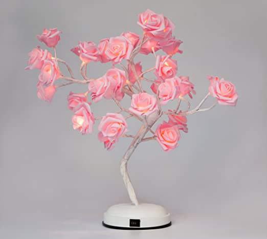 GOJOOASIS Rose Flower Mother\'s Day Gift Table Lamp Desk Pink Tree ...