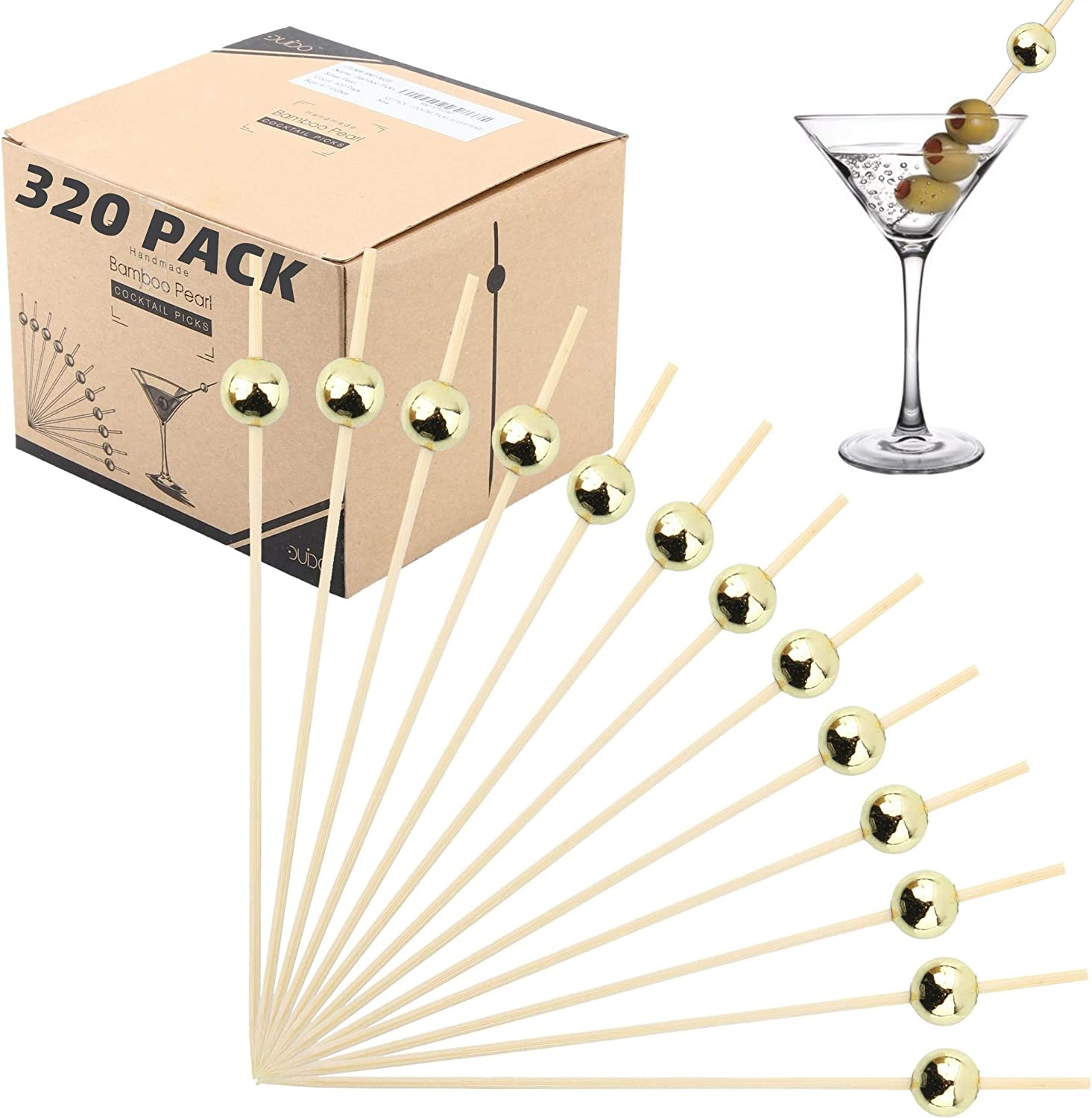 Bamboo Cocktail Picks Skewers Toothpicks - (Pack of 320) 4.75 Inch Gold Pearl Wooden Frill Tooth Picks for Appetizer Martini Food Garnish Cocktail Sandwich Fruit Kabobs – Catering Weddings Decorative