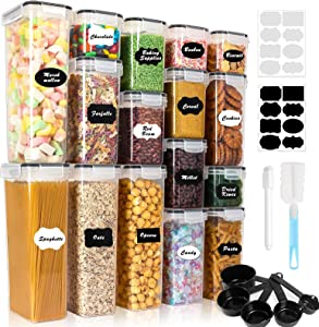 Airtight Food Storage Container Set, 16PCS BPA Free Plastic Dry Food Canisters with Lids, Kitchen Pantry Organization, Ideal for Organizing Cereal, Flour - 16 Labels, Marker, Spoon Set&Clean Brush