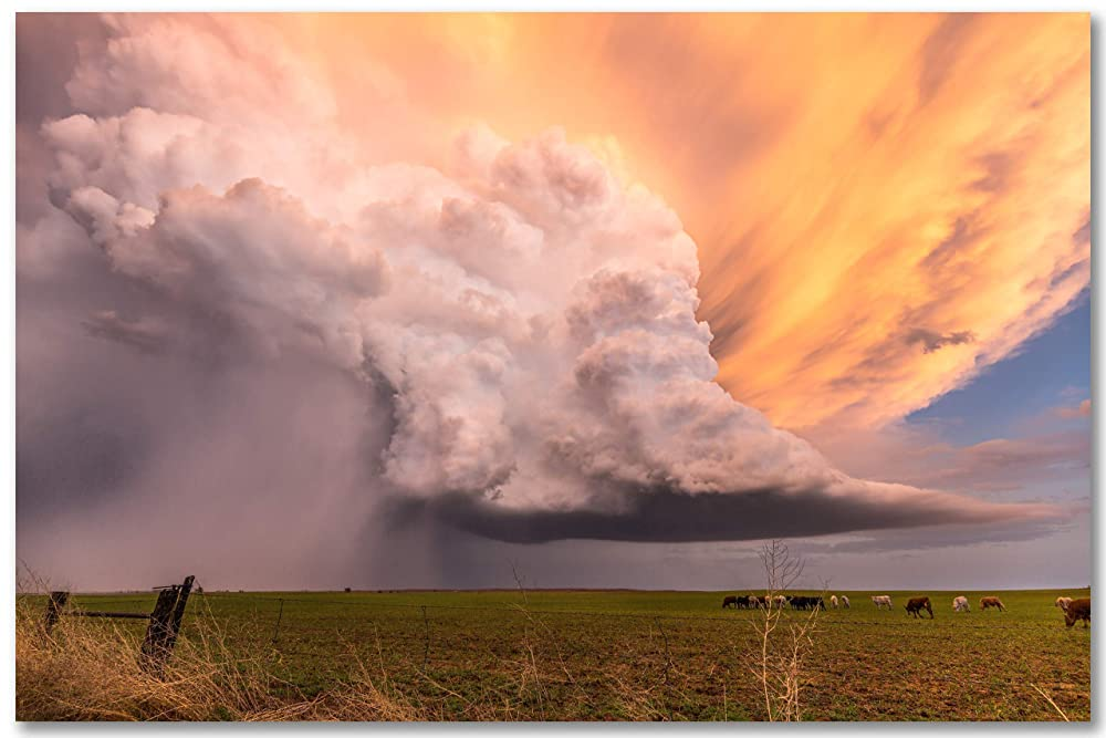 Violent Thunderstorm on Plains of Kansas Photo Art Print Poster 18x12 inch