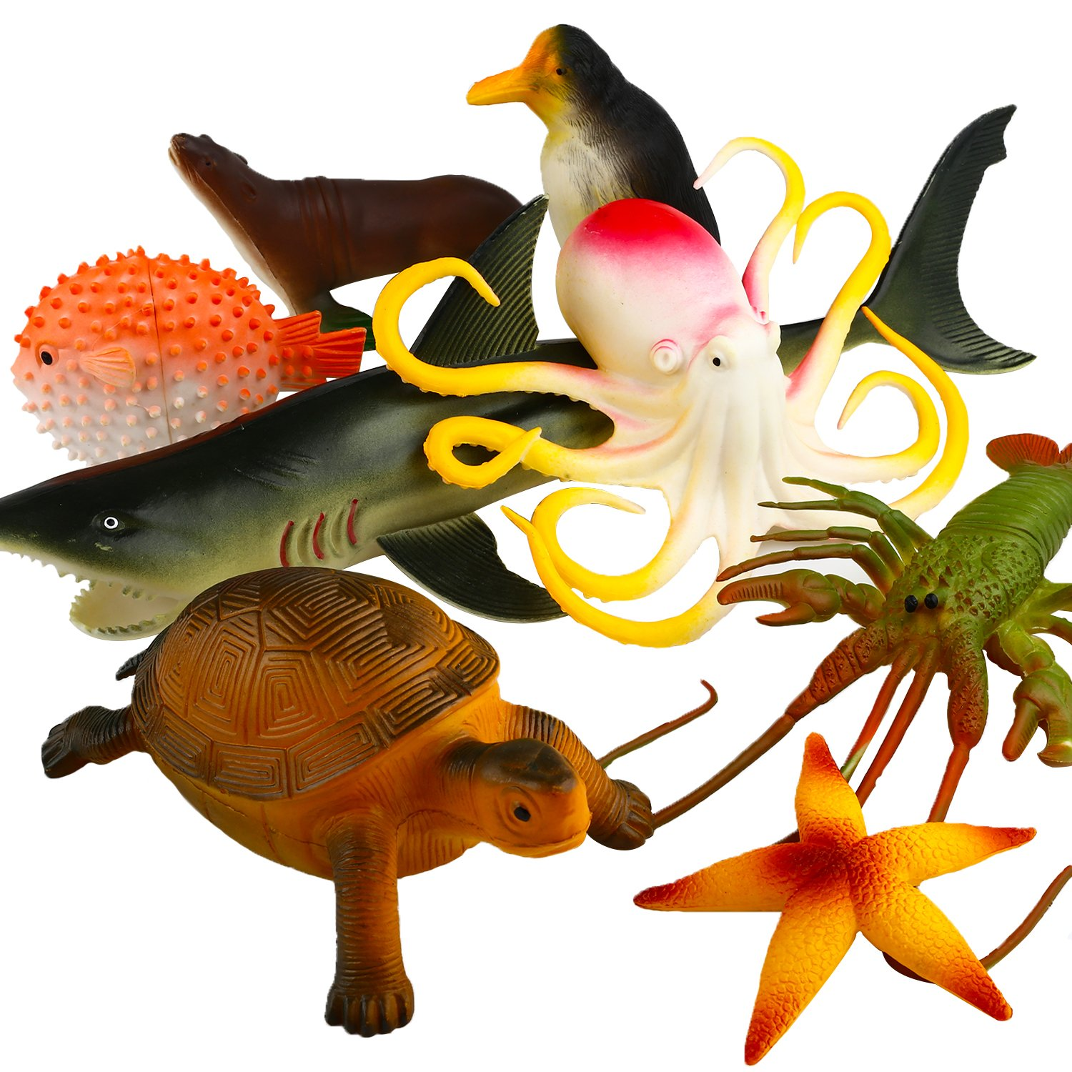Octopus Shark Turtle 4-14 Inch Large Vinyl Plastic Animal Toy Set Funcorn Toys Realistic Under The Sea Life Figure Bath Toy for Child Toddler Educational Party Favors 8 Pack Ocean Sea Animal