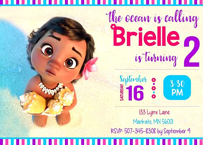 Image Unavailable Not Available For Color Moana Birthday Invitation