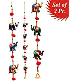Door Hanging Decorative Five Hand Painted Elephant Stringed Together with Beads and Brass Bell Set of 2 pcs by Super India