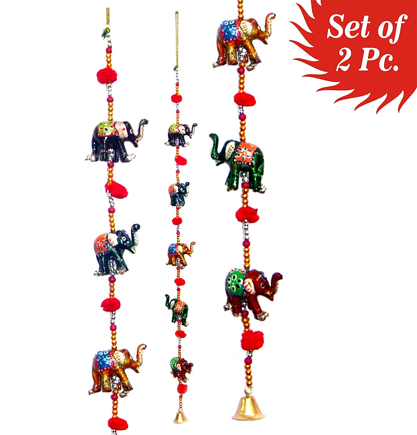 Door Hanging Decorative Five Hand Painted Elephant Stringed Together with Beads and Brass Bell Set of 2 pcs Artisan of India