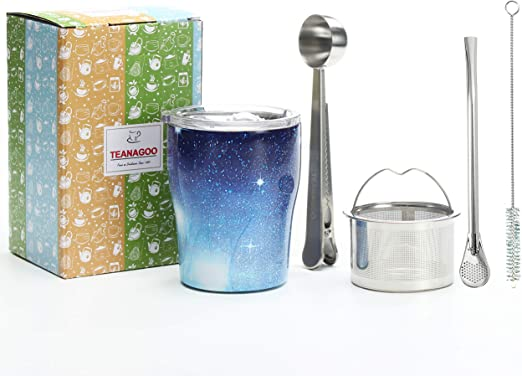 TEANAGOO Mate Cup (Yerba Mate Gourd)- Yerba Mate Straw, Gourd Yerba Mate, Llerva Mate P5, Blue Sky, Double Wall 18/8 Stainless Steel Mate Tea Taza, 6 Pcs/packing, Mate Gourd and Bombilla Set