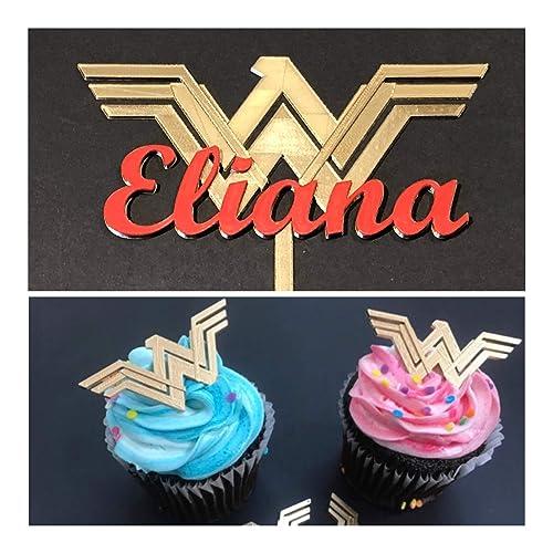 Premium. Personalised Super Woman Cake Topper Birthday Glitter