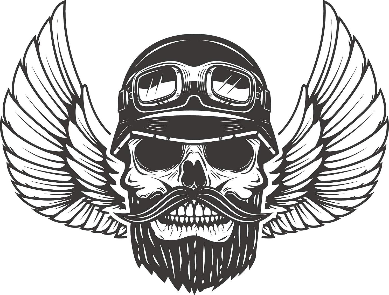 Amazon com cool grayscale biker gang angel wing skull cartoon art vinyl sticker 2 wide beard automotive