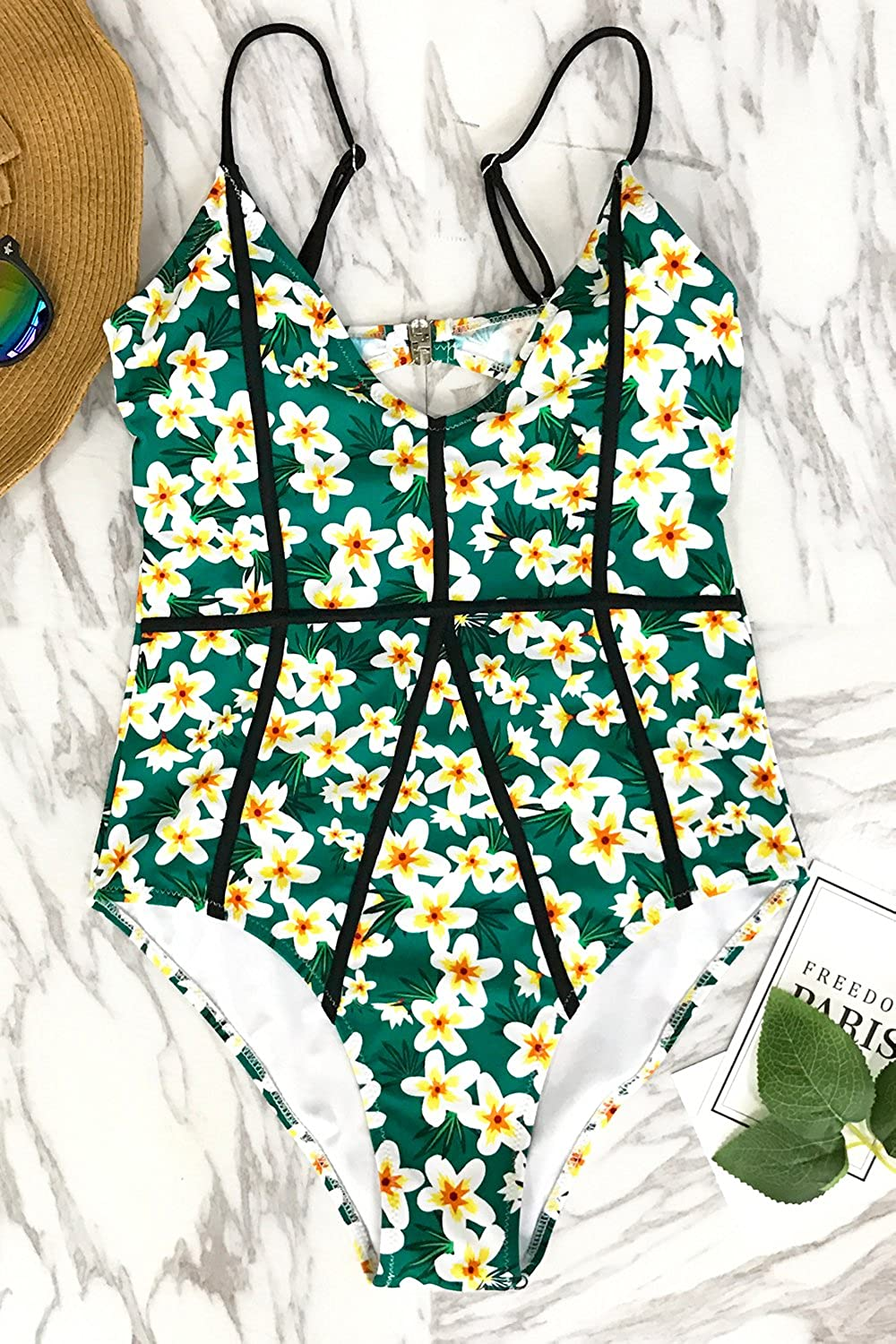 CUPSHE Womens Young and Vigor Print High Waisted One-Piece Swimsuit