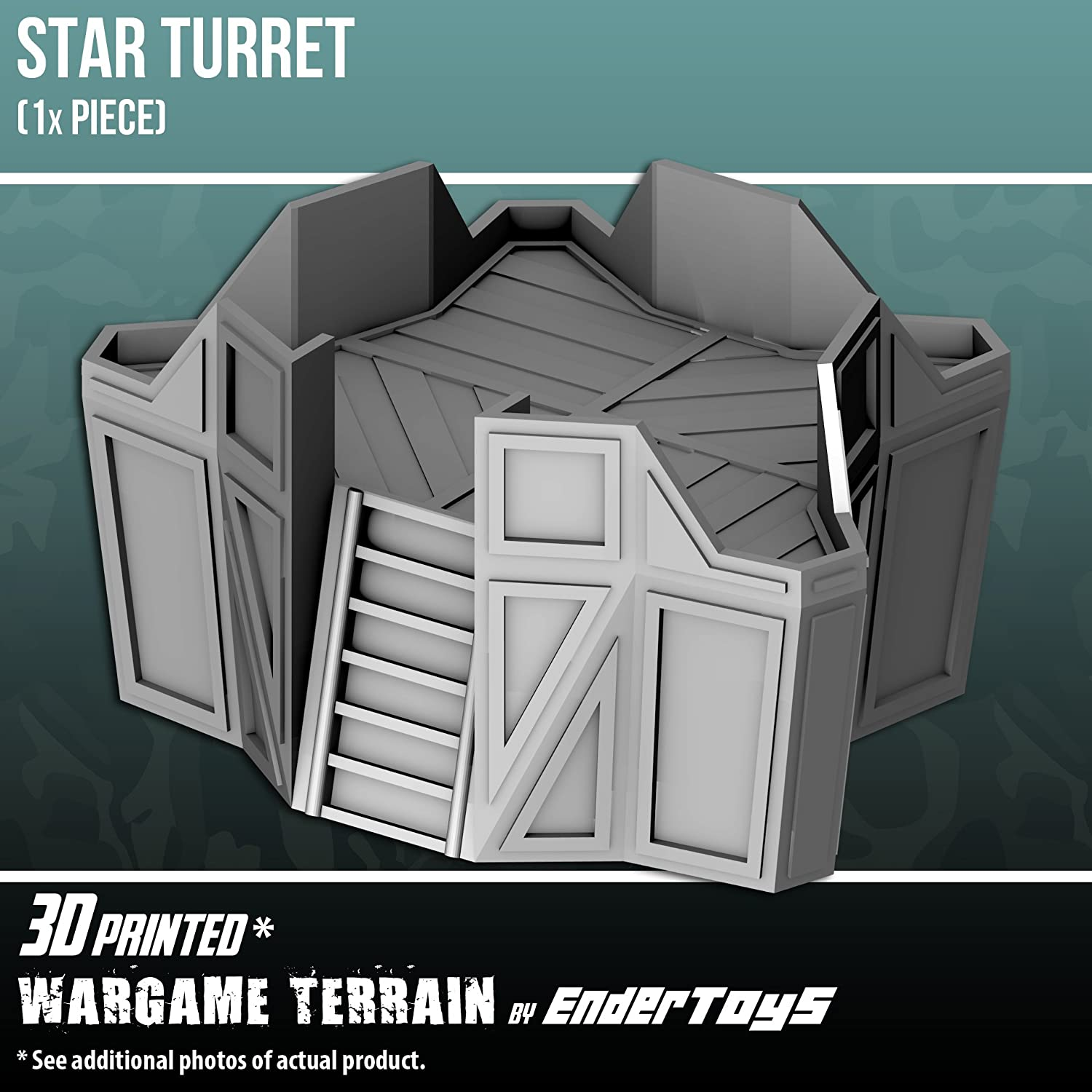 EnderToys Star Turret, 3D Printed Tabletop RPG Scenery and Wargame Terrain for 28mm Miniatures