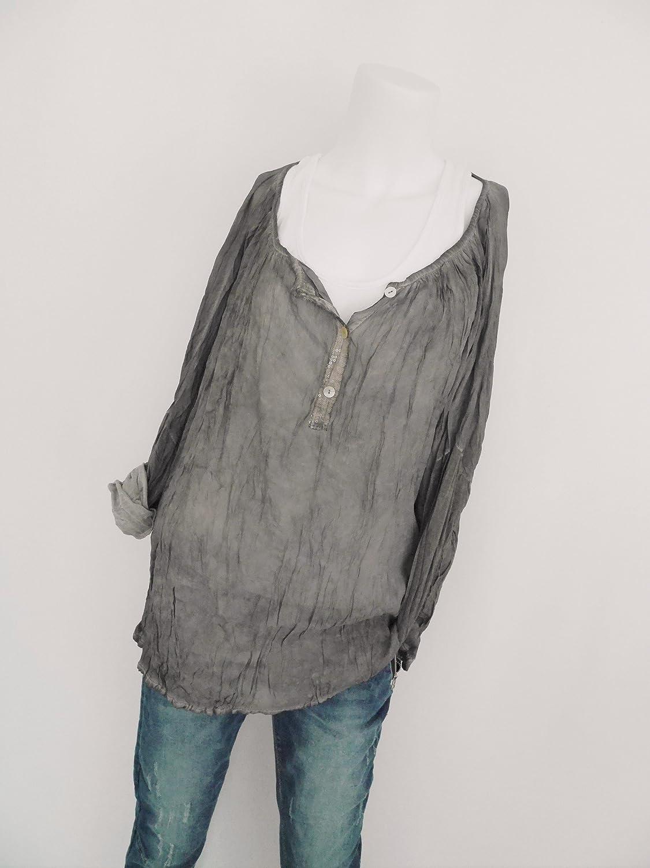 b1085c6954fc Fashion Trend Mode Oversize Blusenshirt Tunika Sommer Bluse Knitterlook  Crashoptik Pailletten schlamm braun graubraun vintage L XL 42 44 (8129)   Amazon.de  ...