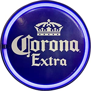 """Corona Extra Blue LED Neon Light Rope Sign, 12"""" Bottle Cap Shaped, Officially Licensed, Plug-in or Battery Powered, Wall Decor for Home, Bar, Garage, Shop, or Man Cave"""